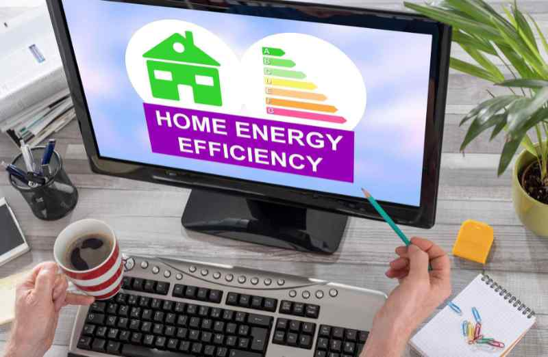 Home energy efficiency concept displayed on a computer screen