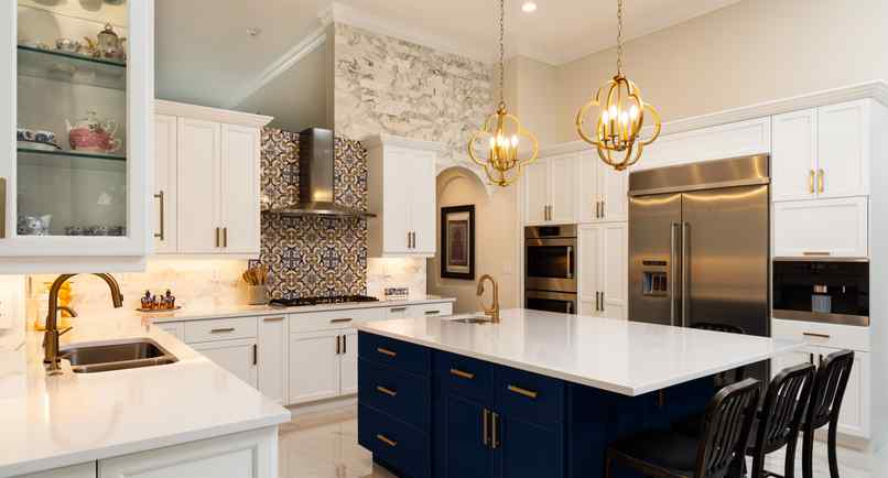Beautiful luxury Branson, Missouri estate home remodeling kitchen project with white cabinets.